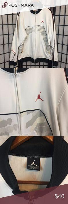 22e9e55ac935de Mens Nike Jordan Zip Up Jacket White and Black Mens Nike Jordan Zip Up Jacket  White