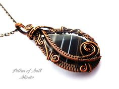 Wire Wrapped pendant / copper jewelry / wire wrapped jewelry by PillarOfSaltStudio