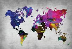 World Watercolor Map 13 Poster at AllPosters.com