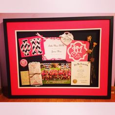 Make a shadow box with everything special from your first year in your sorority! Involes awards, your bid, first jersey, bottoms, name tags, initiation statement, bid day picture, and much more