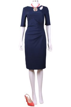 This is a beautiful evening dress new in from Bernshaw. It features keyhole detail and a ruched design. This navy dress looks beautiful with coral accessories - see our Butterfly necklace new in! A gorgeous wear for a formal occasion.   97% polyester, 3% elastane  lining: 100% polyester  handwash / dry clean only   Code: Alma blue