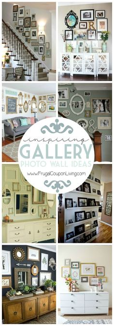 Gallery Wall Ideas and Inspiration for PIcture Frame Displays.  Family picture frame ideas and ornament for displaying your home portraits.