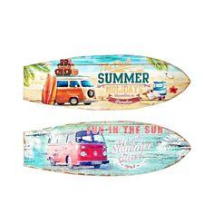 OBJET DÉCORATION MURALE SURF lot de 2 Bois neuf COMBI VAN VW décoration Murale 60cm Ambiance plage