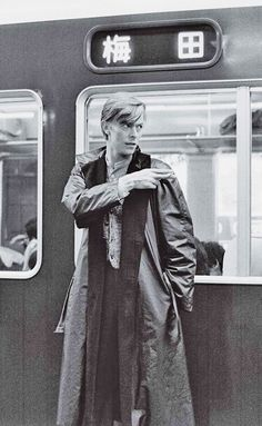 David Bowie 1980 in Japan by Masayoshi Sukita Kawaramachi Station of the Hankyu Kyoto Line of Hankyu Railway in Kyoto