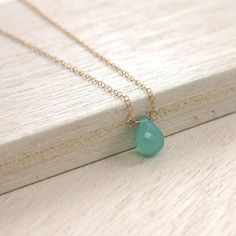 Turquoise Gold Necklace . Aqua Chalcedony Goldfilled by RanolaSg