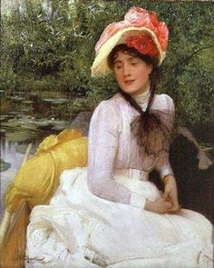 It's About Time: Boating. Arthur Hacker (English Pre-Raphaelite painter, 1858-1919) Girl in a Punt Boat