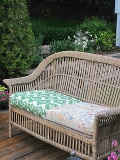 Pier 1 wicker bench with DIY creative cushions