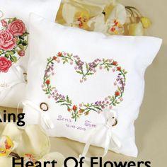 free cross-stitch wedding ring pillow
