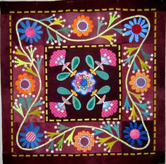 Folk Art Applique quilt by Nifty Quilts, from the 2009 BOM by Sue Spargo