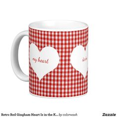 #Retro Red #Gingham Heart Is in the Kitchen Coffee Mug - Stir some nostalgia into that morning cup of coffee with this mug harking back to the wonderful days of red-and-white kitchen decor.