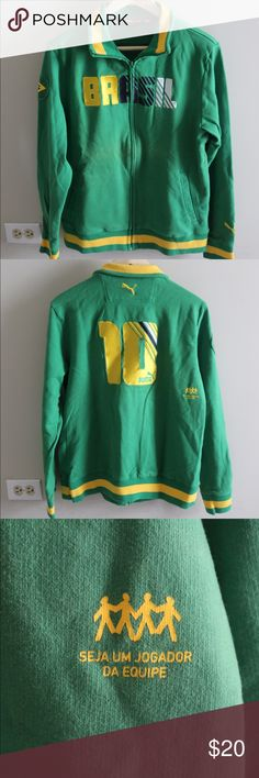 Men's Puma track jacket Men's Puma Brasil track jacket in green. Brazilian flag patch on right arm. Size small. Never worn. No tags. Puma Jackets & Coats