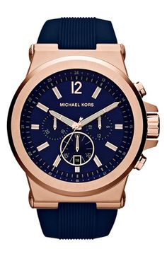 rose gold and navy blue Michael Kors watch