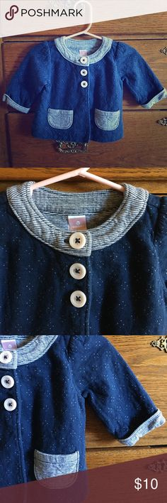 Cotton sweater Sweet and soft little sweater with cute three buttons and front pocket details.  In very good previously loved condition, no holes or stains, only wear from wash.  Size 3-6 mos. Old Navy Shirts & Tops Sweaters