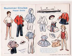 Vintage Summer Cruise Paper Dolls Page 1962 BY Eileen Kelly Uncut Steamship   eBay
