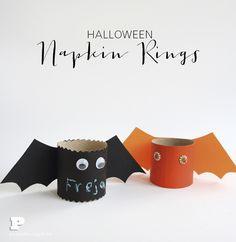 Halloween Napkin Rings from paper rolls Diy And Crafts, Paper Crafts, Halloween Bats, Hallows Eve, Napkin Rings, Find Art, Vingar, Children, Kids