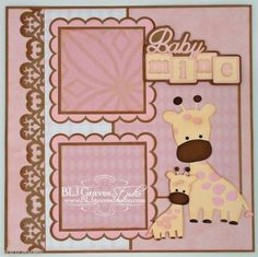 ELITE4U Premade Scrapbook Page Paper Piecing Baby Mine Giraffe Girl Bljgraves   eBay