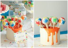 Splatter paint cake pops, perfect for an art party from playpartypin.com #UltimatePlaydate #shop