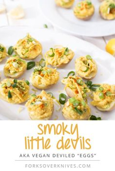 These vegan deviled eggs are actually tiny stuffed potatoes–they are absolutely beautiful, and, oh so delicious as hors d'oeuvres!