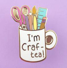 I'm Craft-Tea Mug Lapel Pin - enamel pins - accessories Cool Pins, Pin And Patches, Disney Pins, Up Girl, Pin Badges, Tea Mugs, Stickers, Lapel Pins, Pin Collection