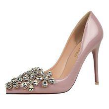 Finos Tacones Altos de Charol Boca baja de Las Mujeres Zapatos de Punta  estrecha Crystal Flower 00471f6591ad