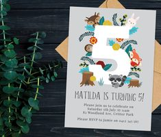 Woodland Kids 5th Birthday Party Invitation, Floral Birthday Invite, Party Invitations Printable, Birthday Invitations for Girls and Boys