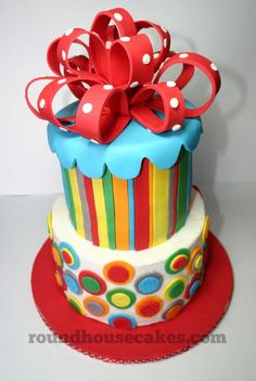 Color-Palooza Birthday Cake - i love the bow on top Gorgeous Cakes, Pretty Cakes, Cute Cakes, Amazing Cakes, Crazy Cakes, Fancy Cakes, Fondant Cakes, Cupcake Cakes, Cake Original