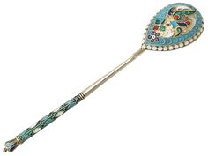 Antique Russian Silver Gilt and Polychrome Cloisonné Enamel Spoon