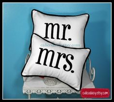 Ready To Ship! mr and mrs Embroidered Pillow Cover Set  12 x 16  by calicodaisy, $50.00 #bridal #mr and mrs #shower #wedding