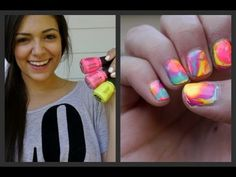 Marble your nails for Summer! (Tie dye inspired tutorial)  This is so cool, and easy.  I was amazed as to how you apply the marble looking colors, and would have never thought of that idea. The video is well done, and easy to follow, so check it out.  Oh she is addicted to pinterest too. #tcarter2012