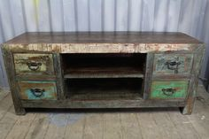 Coloured, Reclaimed TV Console