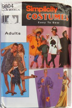 Simplicity 9804 Unisex Costumes in Adult Sizes