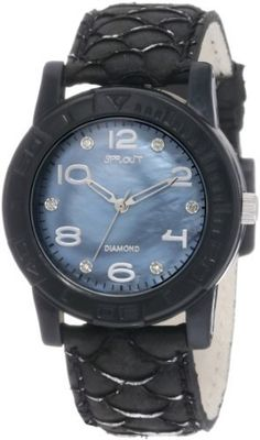 Sprout Women's ST/2500JMBK Diamond Dial Black Carp Fish Scale Black Case Bio-Degradable Watch Sprout. $65.00. Black dyed genuine carp fish skin strap with silver-tone highlights for distinctive texture. Black colored mother-of-pearl dial declared through the dept. Of fish & wildlife in the u.s. To never be from forbidden or endangered species.. 6 genuine conflict free diamond markers at odd hour indexes, gold-tone arabic markers at even hour indexes. Large black bio-degrad...