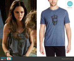 Princess Eleanor's blue tank top with skull graphic on The Royals.  Outfit Details: http://wornontv.net/54978/ #TheRoyals