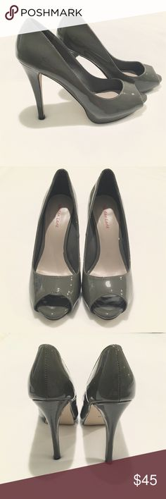 NWOT Gray Patent Leather Peep-Toe Pumps Gray patent leather peep-toe stiletto high heel pumps by Maiden Lane.  5-inch heel.  Size 9.  New without tags / NWOT.  Brand new, never been worn condition! Maiden Lane Shoes Heels