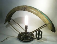bicycle repurposing | Upcycled Bicycle Parts Lamp SOLD!
