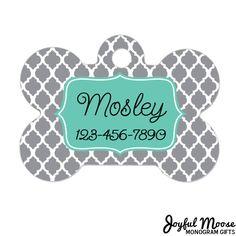 New to JoyfulMoose on Etsy: Personalized Dog Tag - Dog ID Tag - Personalized Bone Dog Tag - Pet Gift - Custom Pet ID Tag - Gray Mint (9.75 USD)