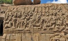 Descent of the Ganges at Mahabalipuram, in the Tamil Nadu state India, is one of a group of monuments that were designated as a World Heritage Site since 1984.[1] Measuring 96 feet (29 m) long by 43 feet (13 m) high, it is a giant open-air relief carved of the a monolithic rock. The monuments and sanctuaries were built by the Pallava kings in the 7th and 8th centuries.