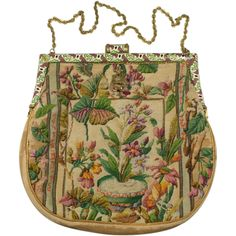 Vintage Floral Petit Point Purse with Enameled Frame