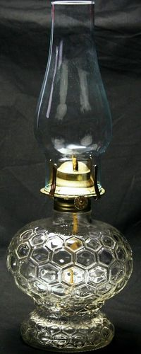 Vintage Kerosene Oil Lamp Honeycomb Oil Font Glass Hurricane Table Primitive Very Good Condition