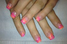 Bright orange & pink glitter nails