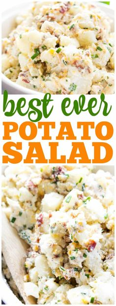 BEST EVER POTATO SALAD RECIPE - loaded with bacon, chives, cheese and ranch seasoning, this potato salad will become a traditional family barbecue recipe. salad Best Ever Potato Salad - A Dash of Sanity Sour Cream Potato Salad, Loaded Potato Salad, Potato Salad With Bacon, Potato Salad Recipe With Ranch Dressing, Bacon Potato, Potato Rice, Side Dishes For Bbq, Side Dish Recipes, Best Ever Potato Salad