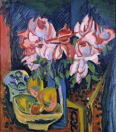 Ernst Ludwig Kirchner - Pink Roses (1918)