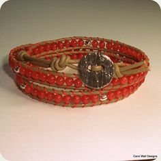 Coral designer 3 strand wrap bracelet with by CarolWallDesigns, $62.00