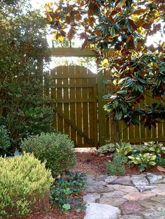 Privacy fence with round top gate by Lavender Blue Garden Design
