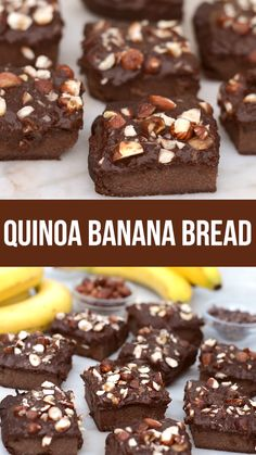 quinoa chocolate banana bread recipe that's naturally gluten free and high in protein. healthy and sweetened just with fruit. quinoa chocolate banana bread recipe that's naturally gluten free and high in protein. healthy and sweetened just with fruit. Chocolate Banana Bread, Healthy Banana Bread, Banana Bread Recipes, Chocolate Recipes, Healthy Protein, Protein Fruit, Fruits High In Protein, Banana Recipes Videos, Hot Chocolate