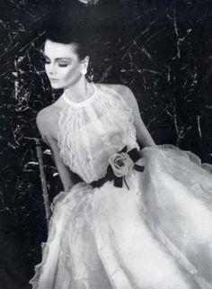 Vintage Dior wedding dress with floral belt.