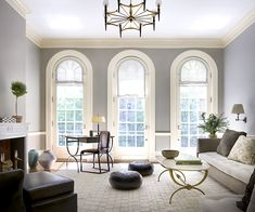 Love the windows and the gray walls. Would be pretty with hardwood floors.