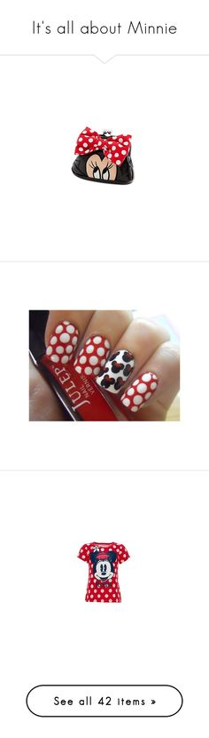 """""""It's all about Minnie"""" by theferparra ❤ liked on Polyvore featuring bags, wallets, mini bags, coin purse wallets, red coin purse, bow wallet, red wallet, beauty products, nail care and nails"""