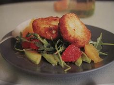 fried goat cheese, citrus and avocado salad