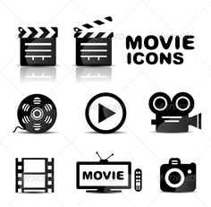 Movie black glossy icon set | Vectors | Web Elements | ThemeSquirrel